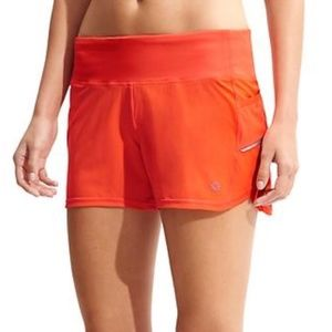 "Athleta Neon Orange Ready Set 4"" Running Shorts"